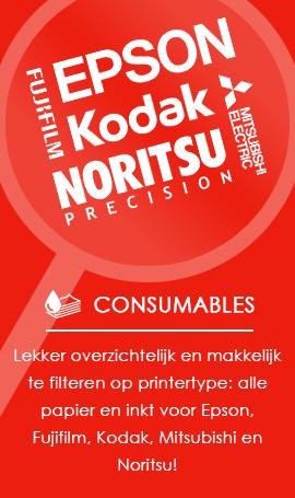 Lekker overzichtelijk en makkelijk te filteren op printertype: alle papier en inkt voor Epson, Kodak, Mitsubishi en Noritsu!